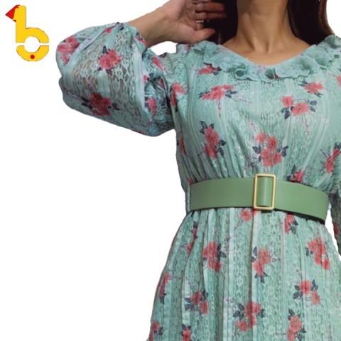فستان مشجر بورد مع حزام عريض